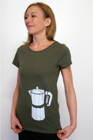 "Kurzarmshirt ""Coffee Addict"", olivgrün, Fair Wear, GOTS"