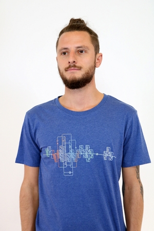 GeoSkyline T-Shirt in blau meliert, Fair Wear, GOTS, Bio, Organic