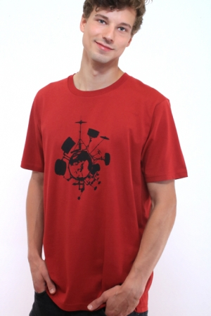 Drums-T-Shirt, rot, Bio, Fair Wear, GotS, Siebdruck