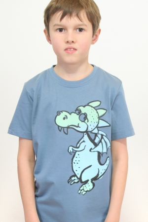 "Kinder-T-Shirt ""Drache"" denimblau"