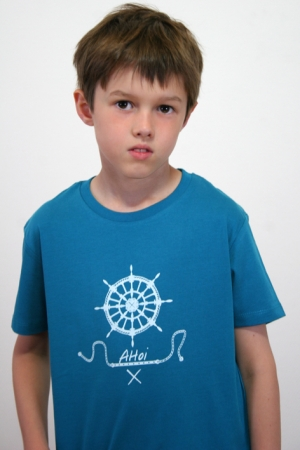 "Kinder-T-Shirt ""Ahoi"" petrol, GOTS, Fair Wear"