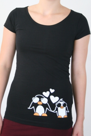 "Shirt ""Pinguine in Love"", schwarz, Fair Wear, GOTS"