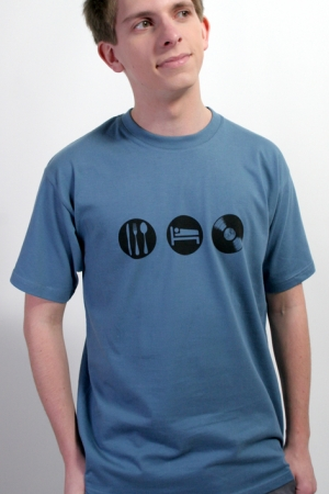 "T-Shirt ""Eat Sleep Vinyl"", graublau, Fair Wear"