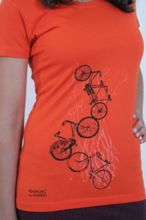 "Shirt ""Fahrräder"", orange, Fair Wear"