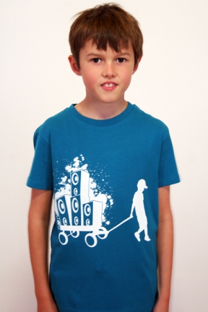 "Kinder-T-Shirt ""Boxen-Bernd"" blau, GOTS, Fair Wear"