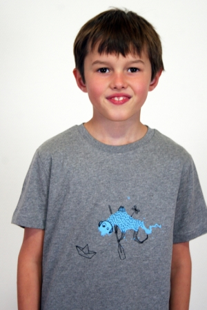 "Kinder-T-Shirt ""Paddel-Frieder"" - grau, Fair Wear"