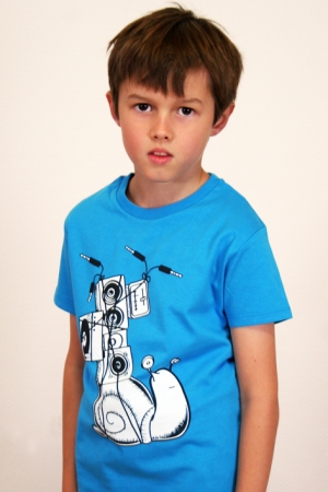 "Kinder-T-Shirt ""Soundschnecke"" - blau, GOTS, Fair Wear"