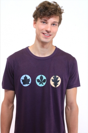 "T-Shirt ""3Blätter"", aubergine, Fair Wear, Bio"