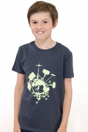 "Kinder-T-Shirt ""Drums"" grau"