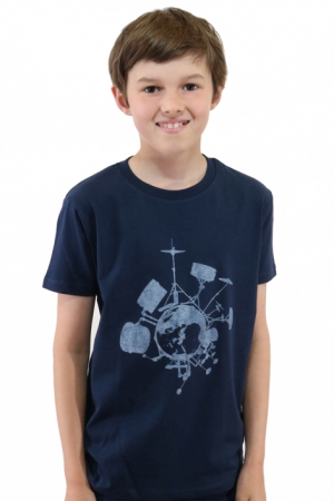 "Kinder-T-Shirt ""Drums"" - navy, GOTS, Fair Wear"