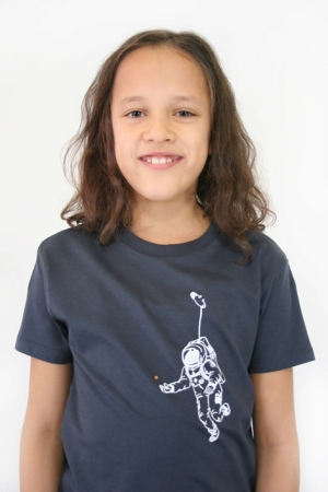 "Kinder-T-Shirt ""Kosmonaut"" dunkelgrau/anthrazit, GOTS, Fair Wear"