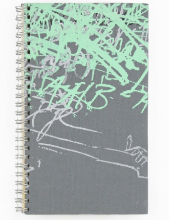 "Upcycling Notizbuch ""Akkorde"", Upcycling + Handsiebdruck"