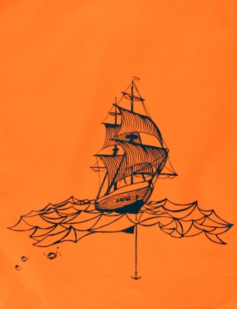 "Turnbeutel ""Segelschiff"", orange"