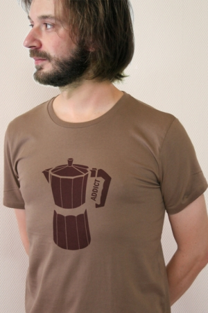 "T-Shirt ""Kaffee"", walnuss, Fair Wear, GOTS"