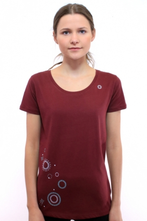 Damenshirt Geometrix, burgund, Fair Wear, GOTS