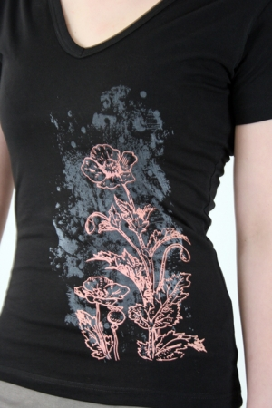 "Shirt ""Blume"", schwarz, Fair Wear"